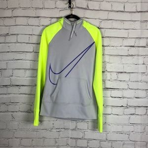 Nike Thermal Fit women's purple neon green gray thumb hole hoodie jacket Small